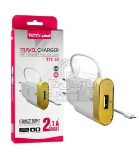 شارژر دیواری با کابل میکرو یو اس بی تسکو TSCO TTC 50