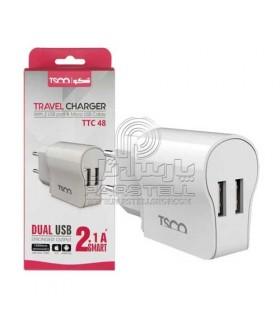شارژر دیواری با کابل میکرو یو اس بی تسکو TSCO TTC 48